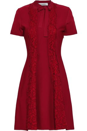 VALENTINO Paneled lace and ponte mini dress
