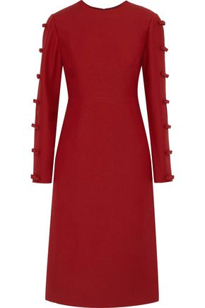 VALENTINO Bow-embellished wool and silk-blend dress
