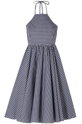 CAROLINE CONSTAS Gretta gingham cotton-poplin dress