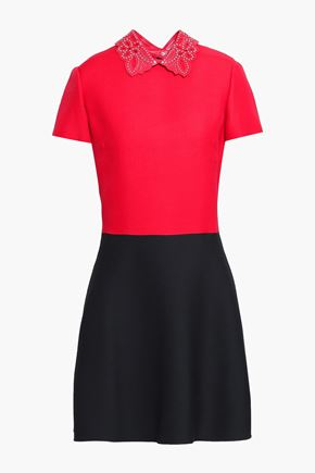 VALENTINO   Valentino Studded Wool And Silk-Blend Mini Dress   Goxip