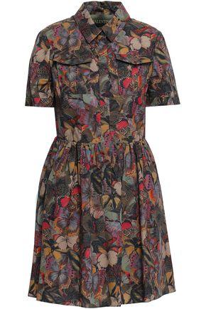 VALENTINO Printed cotton-poplin mini shirt dress