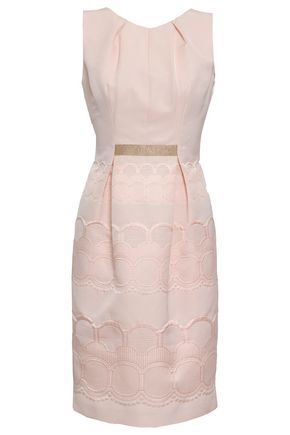 VALENTINO Grosgrain-trimmed cotton-blend jacquard dress