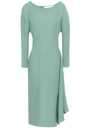 VALENTINO Draped silk-crepe midi dress