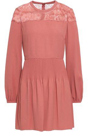 VALENTINO Lace-paneled crepe mini dress