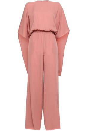 VALENTINO Cape-effect gathered cady jumpsuit
