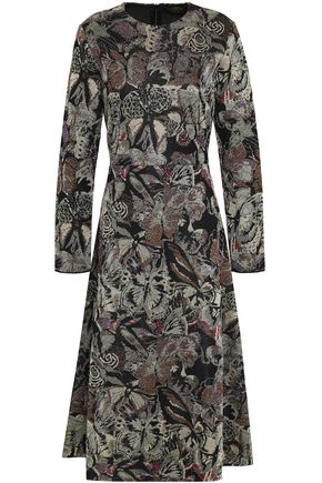 VALENTINO Metallic jacquard-knit midi dress