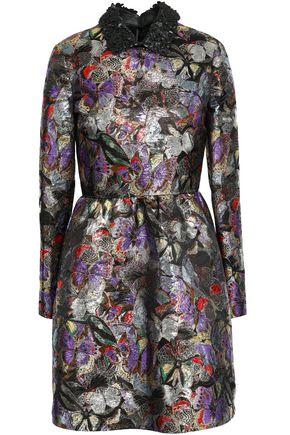 VALENTINO Leather-trimmed flared metallic jacquard mini dress