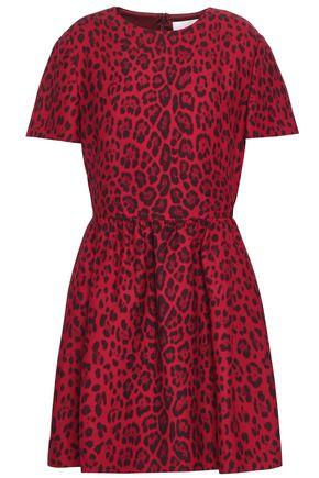 VALENTINO Leopard-print wool and silk-blend mini dress