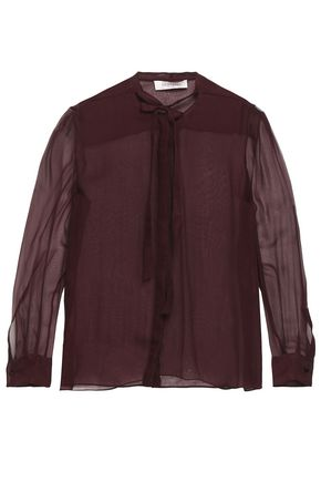 VALENTINO GARAVANI Pussy-bow silk-chiffon blouse