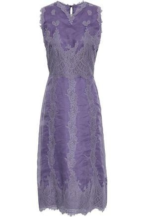 VALENTINO Paneled silk-organza and lace midi dress