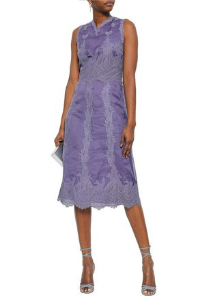 03d8c22db4 VALENTINO Paneled silk-organza and lace midi dress