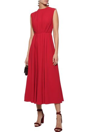 Valentino Draped Wool-crepe Mini Dress In Red