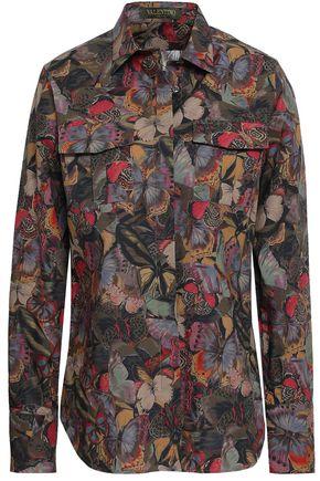 VALENTINO Printed cotton-poplin shirt