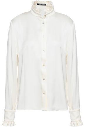 MAGDA BUTRYM Ruffle-trimmed silk-satin shirt
