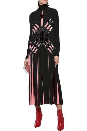 VALENTINO Appliquéd pleated silk crepe de chine midi dress