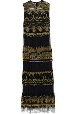 VALENTINO Pleated paneled cotton-blend lace midi dress