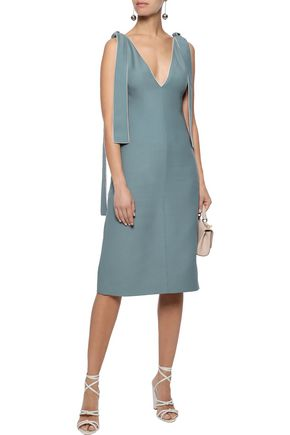 VALENTINO Tie-detailed wool and silk-blend dress