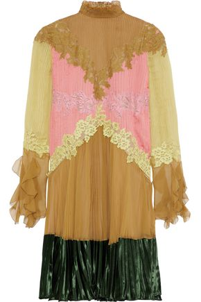 VALENTINO Lace-trimmed velvet-paneled color-block silk-chiffon mini dress