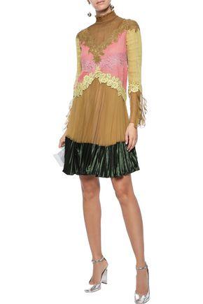 VALENTINO Lace-trimmed velvet-paneled color-block silk-chiffon mini dress