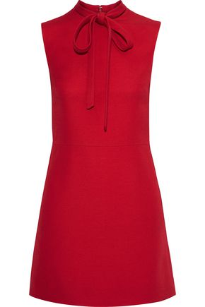 VALENTINO Pussy-bow wool-crepe mini dress
