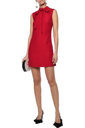 VALENTINO Pussy-bow wool-crepe mini dress
