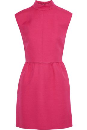 VALENTINO Bow-embellished layered wool and silk-blend crepe mini dress