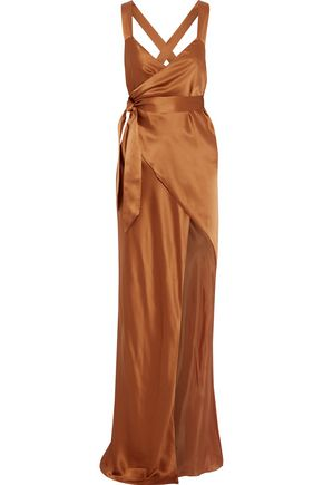 MICHELLE MASON Split-front silk-satin maxi wrap dress