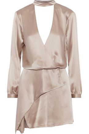MICHELLE MASON Wrap-effect cutout silk-charmeuse mini dress