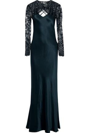 MICHELLE MASON Layered lace and silk-charmeuse gown