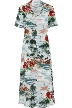 VALENTINO Printed silk crepe de chine midi shirt dress