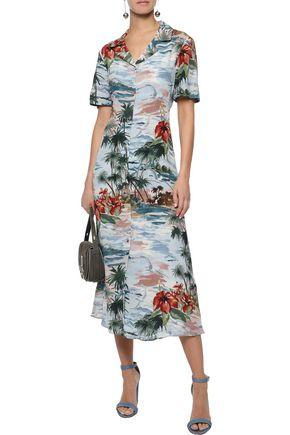 VALENTINO Printed silk crepe de chine midi shirt dress