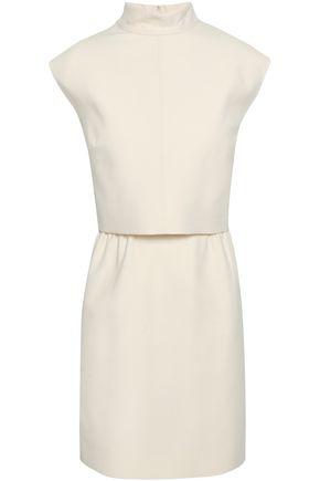 VALENTINO Bow-embellished layered wool and silk-blend crepe mini dress