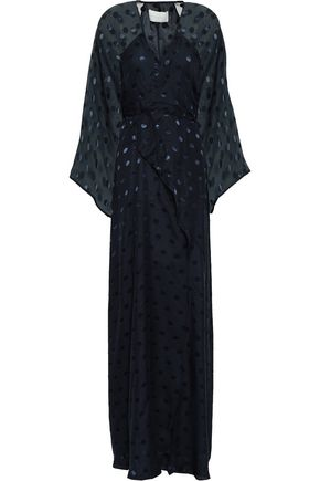 MICHELLE MASON Fil coupé silk-blend chiffon maxi wrap dress