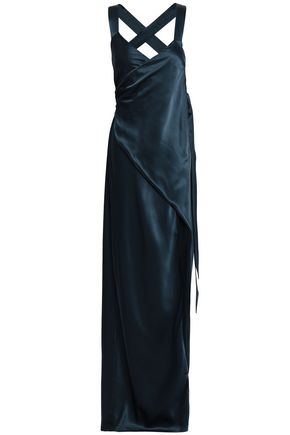 MICHELLE MASON Silk-charmeuse maxi wrap dress