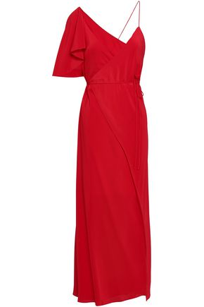 MICHELLE MASON Cape-effect silk crepe de chine midi wrap dress