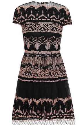 VALENTINO Embroidered cotton-blend tulle mini dress