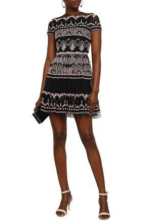 VALENTINO Embroidered cotton-blend tulle mini dress