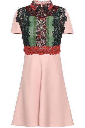 VALENTINO Paneled lace, point d'esprit and wool and silk-blend mini dress