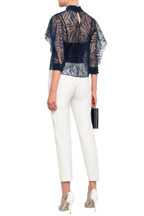 MICHELLE MASON Lace and crepe de chine-paneled top