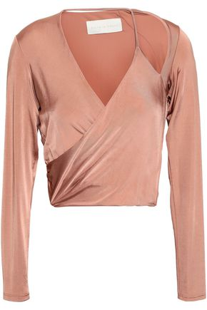 MICHELLE MASON Cropped cutout satin-jersey wrap top