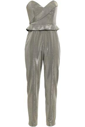 MICHELLE MASON Strapless lamé jumpsuit
