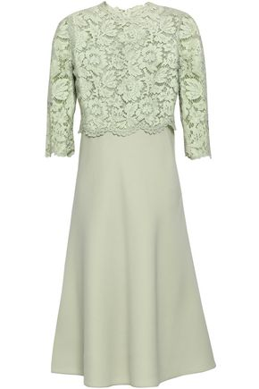 VALENTINO Corded lace-paneled wool and silk-blend dress