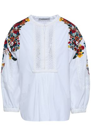 VALENTINO Crochet-paneled embellished cotton-poplin blouse