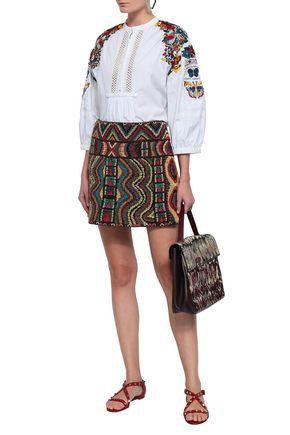 VALENTINO Crochet-paneled embellished cotton-poplin blouse