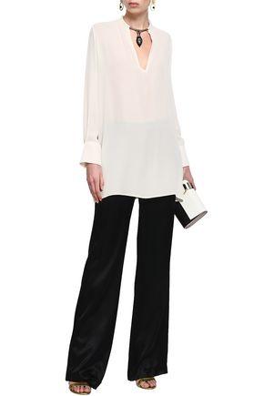 VALENTINO Embellished silk crepe de chine top