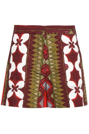 VALENTINO Printed cotton and linen-blend canvas shorts
