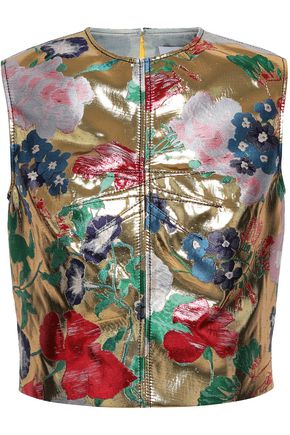 VALENTINO Metallic silk-blend brocade top