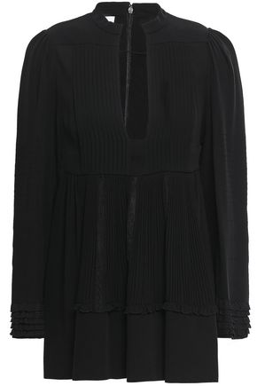 VALENTINO Lace-trimmed silk-crepe blouse