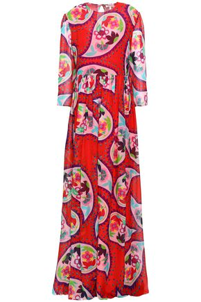 DELPOZO | Delpozo Woman Gathered Printed Silk-voile Maxi Dress Tomato Red | Goxip