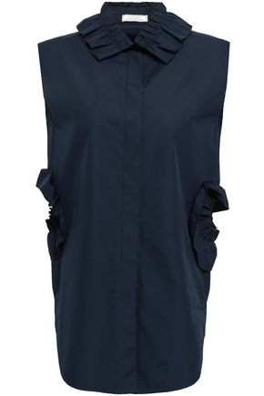 NINA RICCI Ruffled cutout cotton-poplin shirt